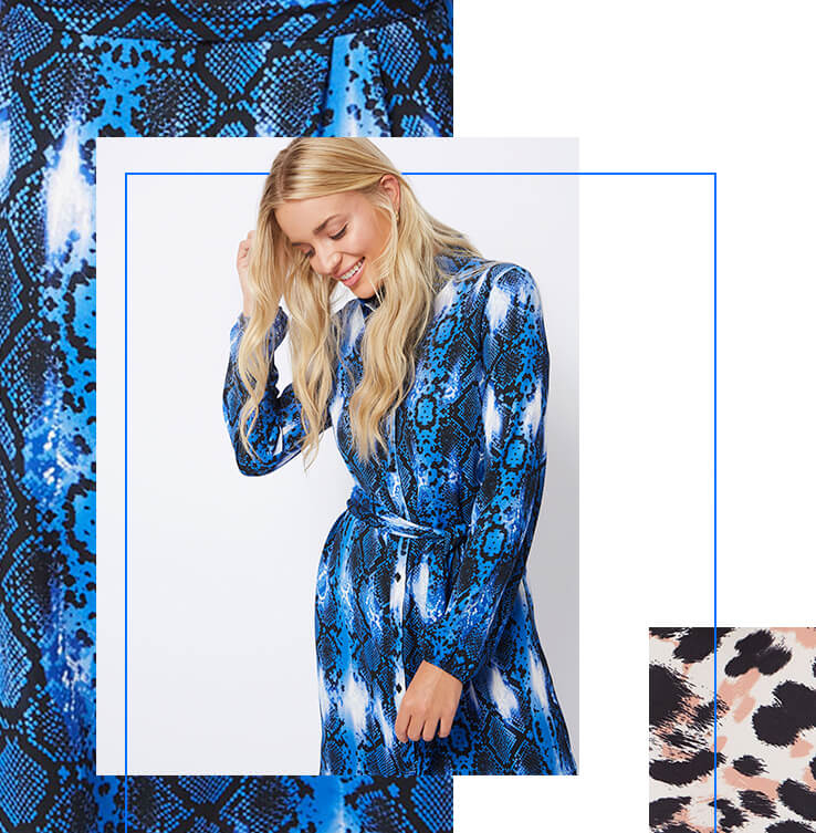 Stand out in an electric blue snakeskin print midi dress