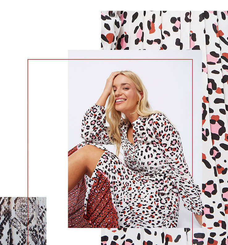 Make a statement in a leopard print pleated midi dress
