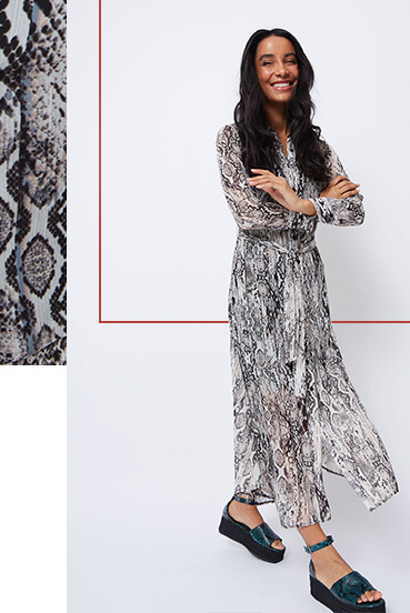 Throw on this snakeskin print maxi dress for easy style points