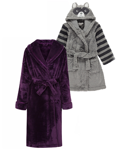A purple dressing gown, and a grey animal dressing gown.