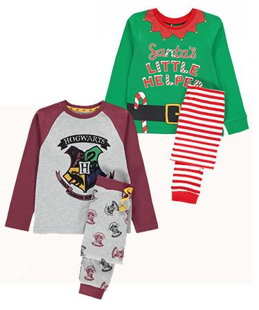 Harry Potter and Santa's Little Helper pyjama sets for kids.