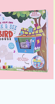 Including glue, wooden bases, mirror sheets for the window, this pack has everything they need to build their own birdhouse