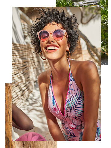 Soak up the sun in a pink printed swimsuit