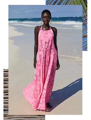 Catch the breeze in a pink maxi dress