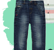 They'll love the cool appeal of these tapered denim jeans with unique fading down the legs