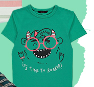 Keep their wardrobe kitted out with roar-some designs with this green monster print T-shirt
