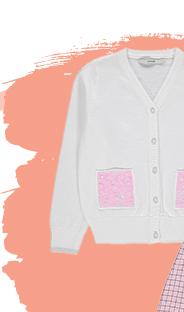 They'll sparkle in this white cardigan, designed with embroidered sequin pockets and glittery cuffs and buttons