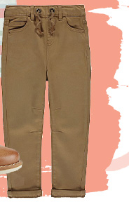 These tan trousers are made from soft fabric and have a comfy elasticated waistband
