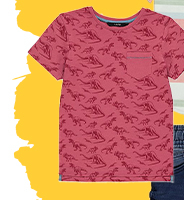 This pink dinosaur print T-shirt is designed for outdoor adventures looking for fossils and exploring the land