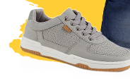 They'll love stepping out in style in these perforated grey trainers