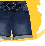 Holidays and warm weather call for something extra special, and these denim look, jersey feel shorts are exactly that