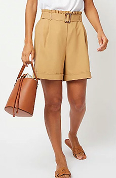These camel coloured shorts sit above the waist for a flattering look