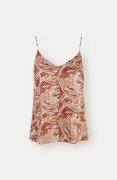 This brown marble pattern strap vest top is the perfect way to make a statement