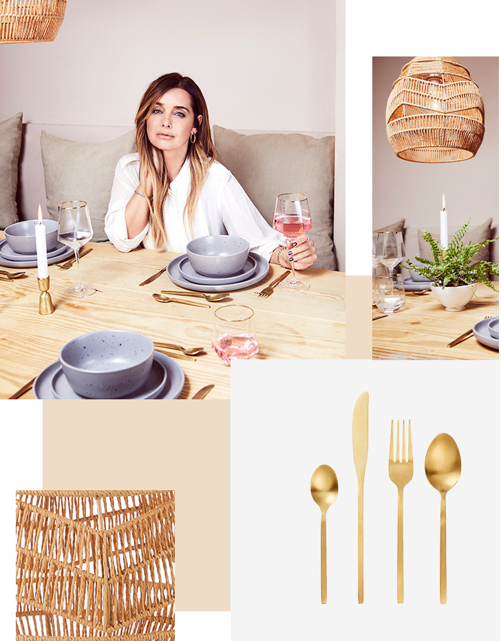 Louise Redknapp sitting at a dinner table with purple dinnerware and gold tone cutlery on the table