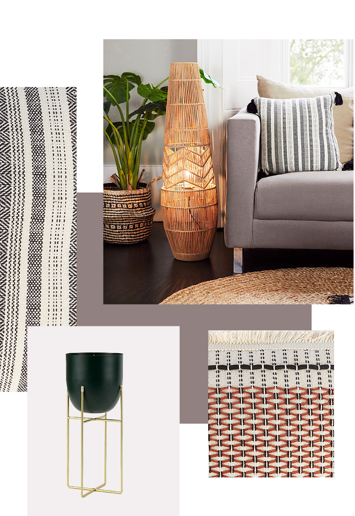 Grey sofa with cushions and a rattan floor lamp