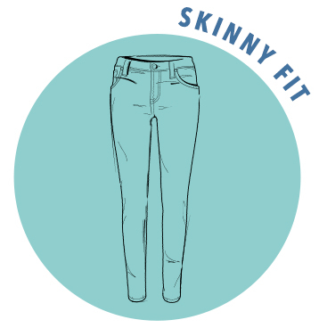 A sketch of a pair of skinny fit jeans