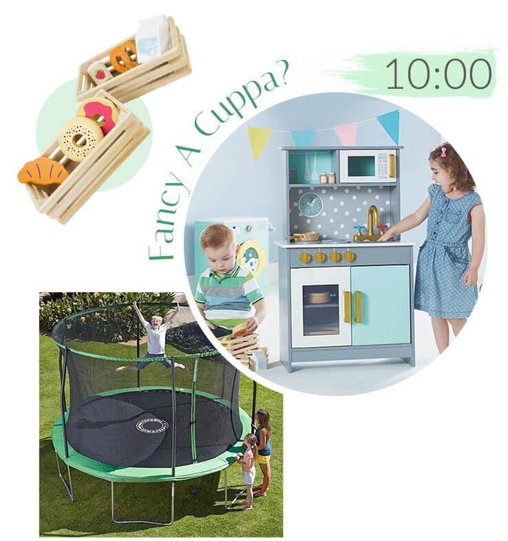 Wooden Foldaway Kitchen, Sportspower Premium 12FT Bounce Bowl Trampoline, Wooden Food Set - Core Groceries