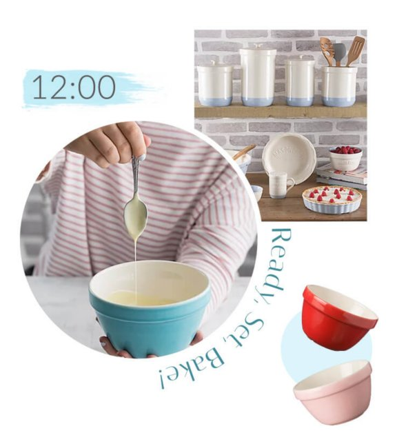 Mason Cash Colour Mix S36 Turquoise All Purpose Bowl with baking mix dripping from a spoon, Mason Cash Colour Mix S36 Red All Purpose Bowl, Mason Cash Colour Mix S36 Pink All Purpose Bowl