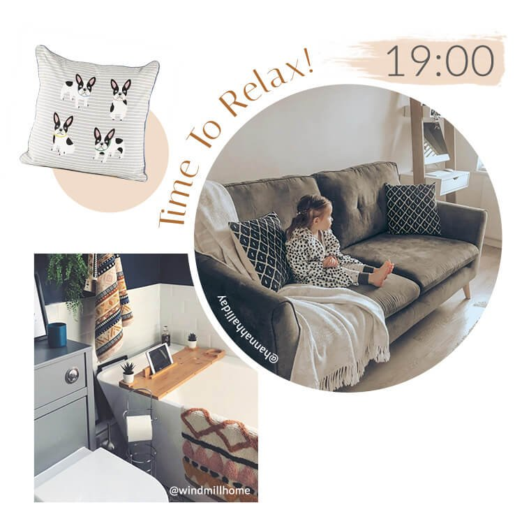 Grey French Bulldog Cushion, girl sat in pyjamas on large grey sofa, grey and white bathroom with abstract printed towel and bath mat