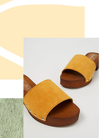 Mustard Yellow Suede Leather Clog Mule Sandals