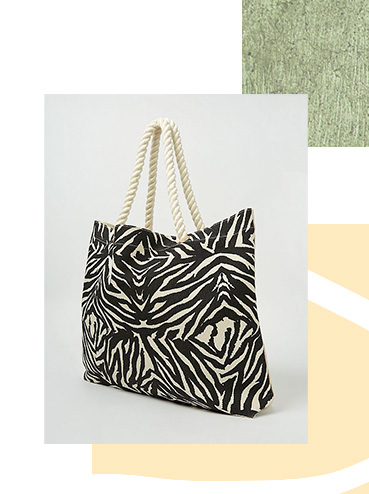 Cream Canvas Zebra Print Maxi Tote Bag