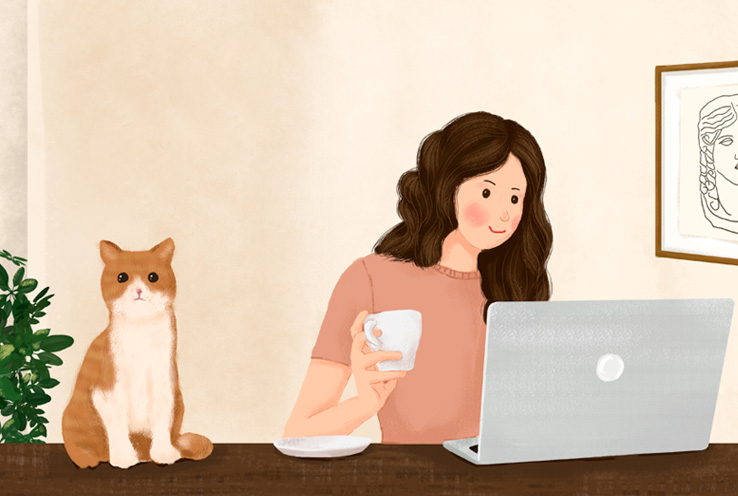 Illustration of woman on a laptop with her cat
