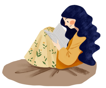 Illustration of woman reading a book on a blanket