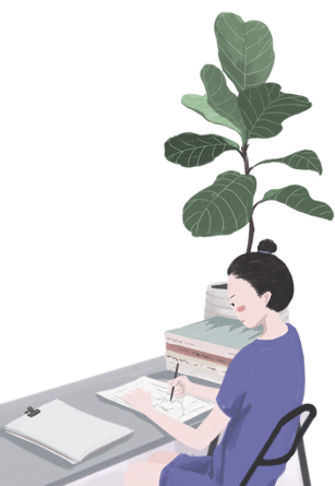 Illustration of woman at a desk with a pen and paper