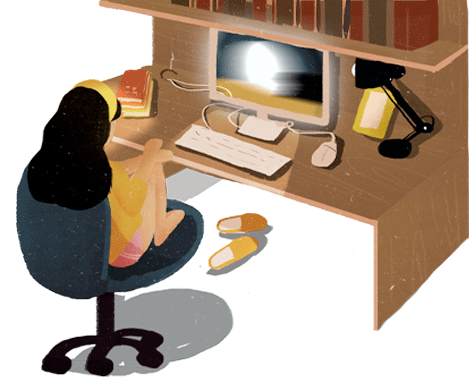 Illustration of a woman at a desk watching an image on screen