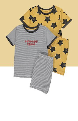 Two pack of pyjama set in grey and yellow