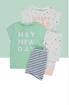 Two pack of pyjama set in green and white