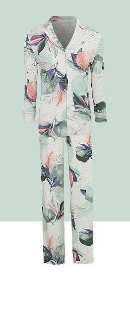 Woman's pyjama set in grey and floral pattern