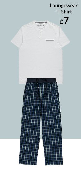 Men's pyjama set in white and navy