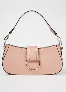 Pale pink ring detail baguette bag