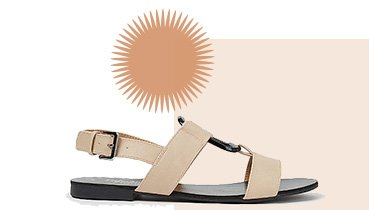 Cream strappy pendant sling back sandals