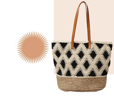 Natural textured embroidered diamond tote bag