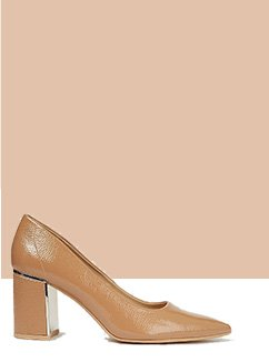 Tan patent heeled court shoes with a metallic trim