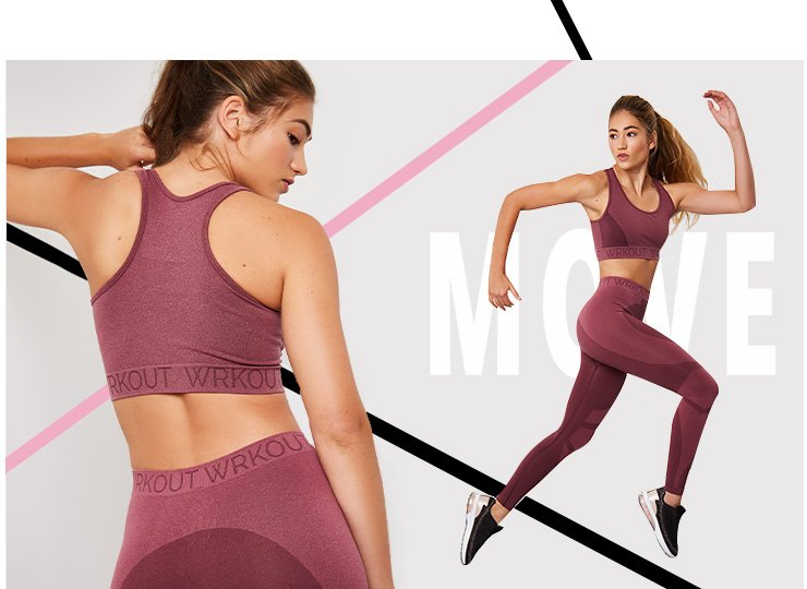 Two shots of a woman wearing a maroon WRKOUT sports bra and leggings set with black trainers, one shot of her running and one shot of her standing backwards looking over her shoulder