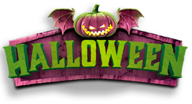 Green Halloween lettering with light-up pumpkin with wings sitting on top.