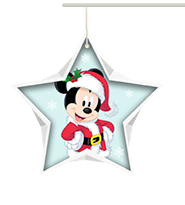 Mickey Mouse wearing Santa outfit inside a light blue star shape with snowflake background.