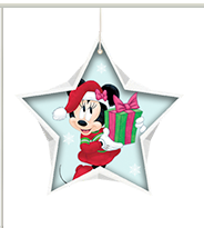 Minnie Mouse wearing Santa outfit and holding a present inside a light blue star shape with snowflake background.