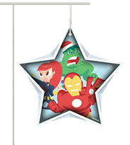 Marvel Characters inside light blue star shape with snowflake background.