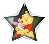 Winnie the Pooh and Piglet hugging inside a white star shape.
