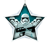 Group of Star Wars Clone Troopers inside white star shape.