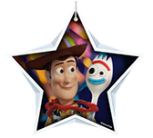 Toy Story Woody and Forky inside white star shape.