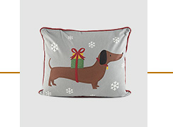 Sausage dog Christmas cushion
