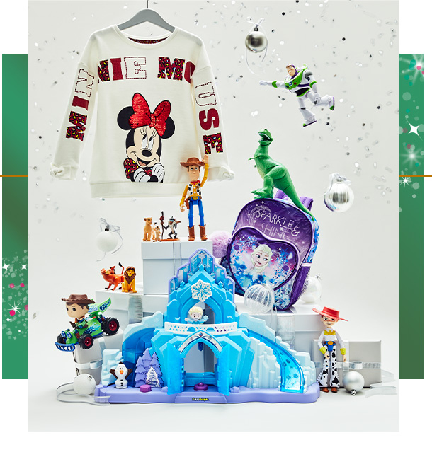 Assortment of Disney Christmas gifts, including a Minnie Mouse sweatshirt, Toy story figures and a Frozen backpack