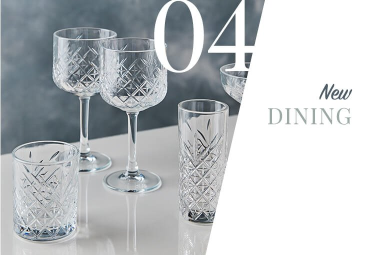Two gin glasses, a hiball and a tumbler from the Timeless glass collection.