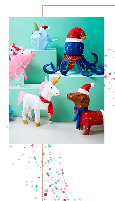 Range of fun Christmas lights on boxes, including an octopus and unicorn