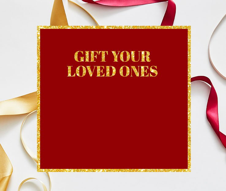 Festive red and gold ribbon on a white background.